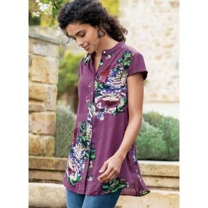 Soft Surroundings Bouquet of Roses Purple Tunic